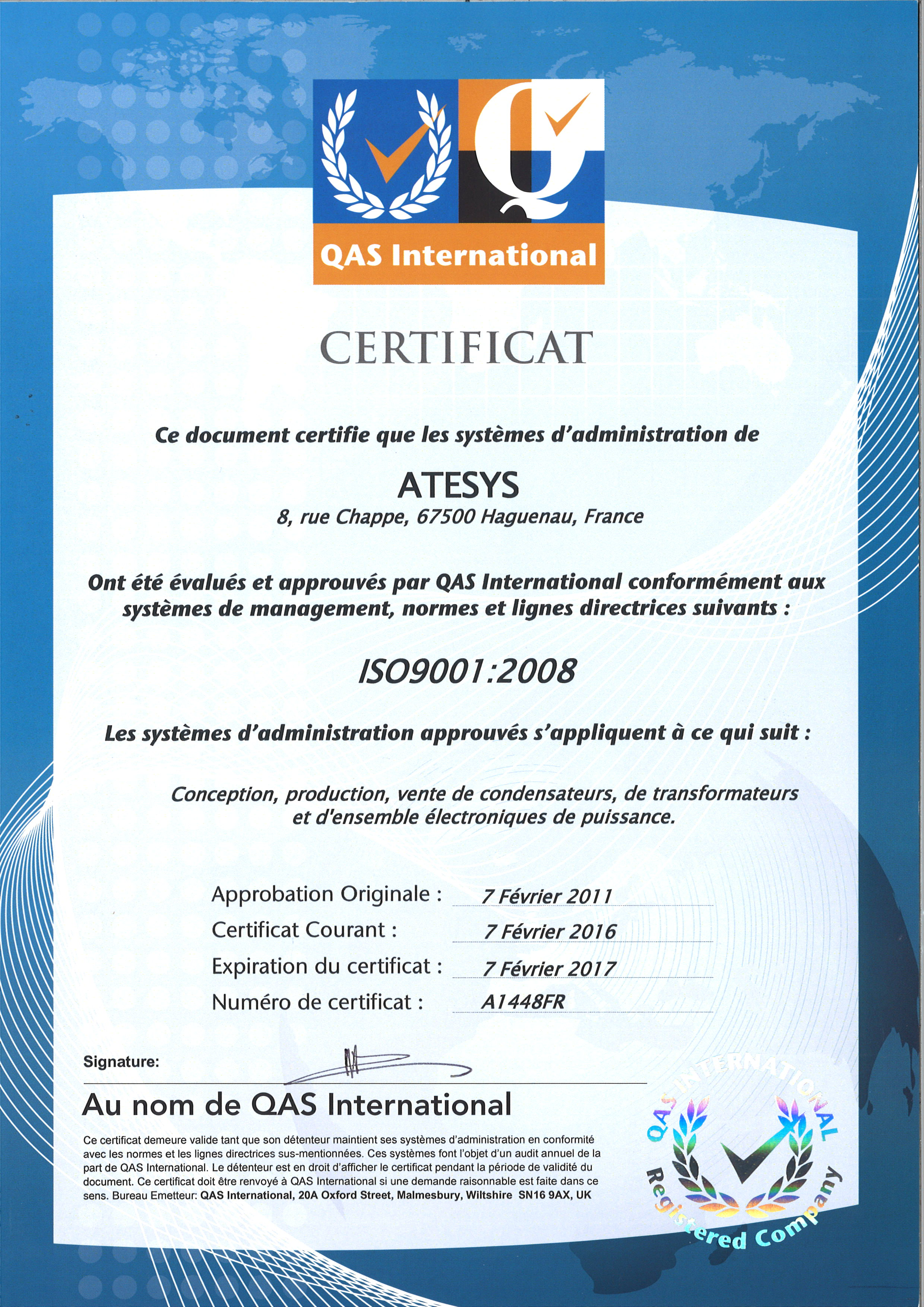 Atesys Montoux Quality Certifications